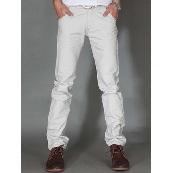 1 Casual Straight Legs Solid Color Plus Size Pants For Men