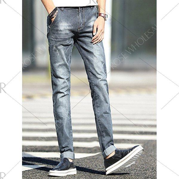 Classic Frayed Design Mid-Wash Slim Fit Jeans For Men