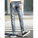 Classic Frayed Design Mid-Wash Slim Fit Jeans For Men
