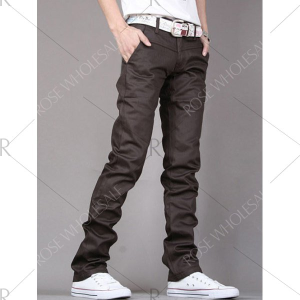 Zipper Fly PU-Leather Edging Straight Leg Pants