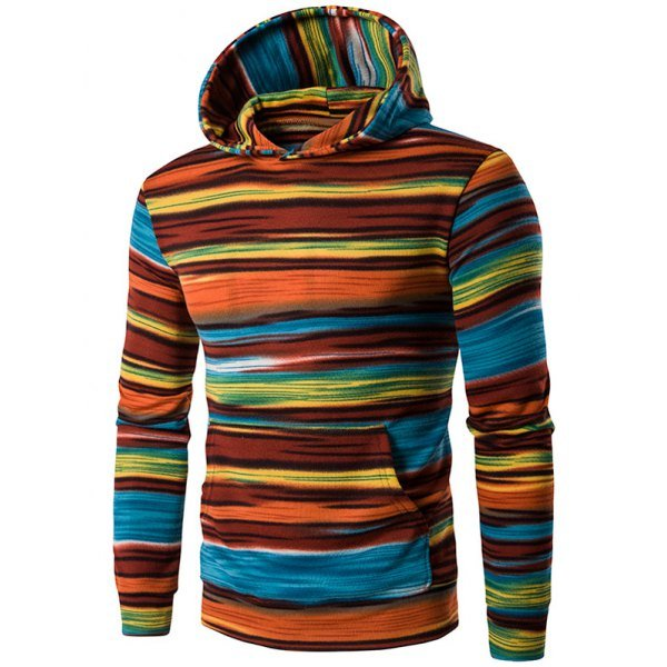 Hooded Colorful Stripe Print Long Sleeve Hoodie
