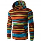 Hooded Colorful Stripe Print Long Sleeve Hoodie
