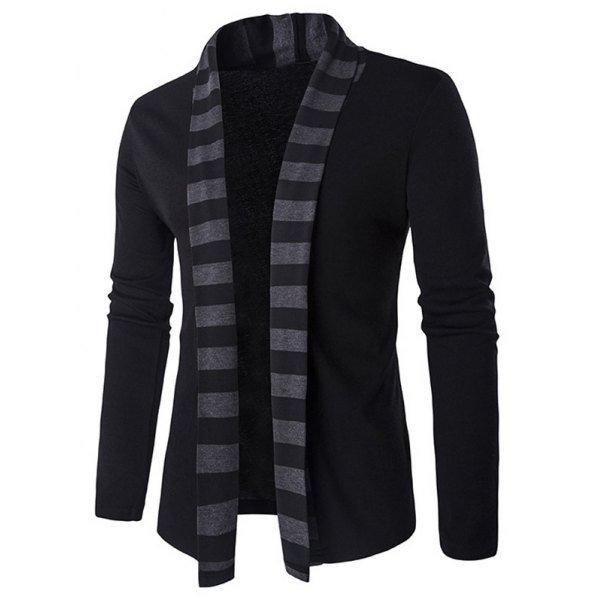 Slim-Fit Striped Shawl Collar Cardigan
