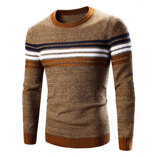 Crew Neck Striped Splicing Pattern Long Sleeve Sweater