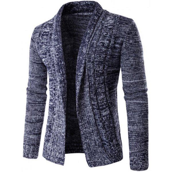 Turn-Down Collar Long Sleeve Knit Blends Cardigan