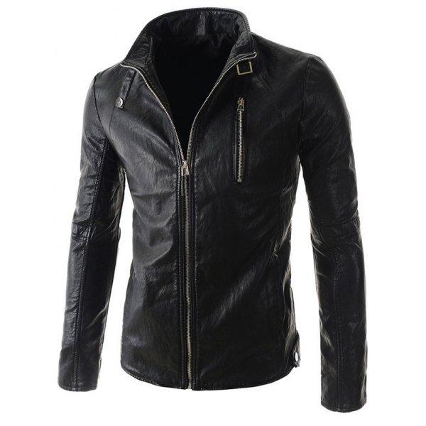 Stand Collar PU-Leather Belt Embellished Zipper Long Sleeve Jacket For Men
