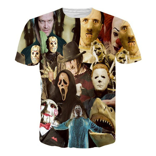 Hot Sale Round Neck 3D Mask People Short Sleeves T-Shirt For Men
