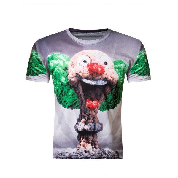 3D Round Neck Clown Mushroom Cloud Print Short Sleeve Men's T-Shirt
