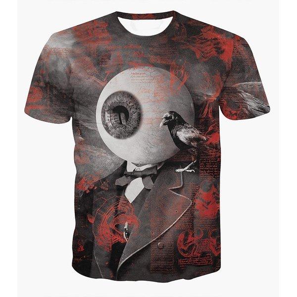 Fashion Pullover Round Collar Eyeball Printed T-Shirt For Men
