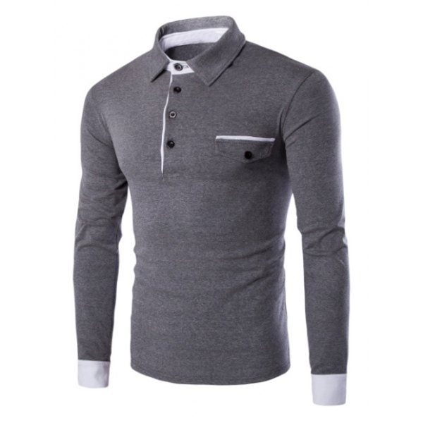 Contrast Spliced Button Up Long Sleeve Polo Shirt