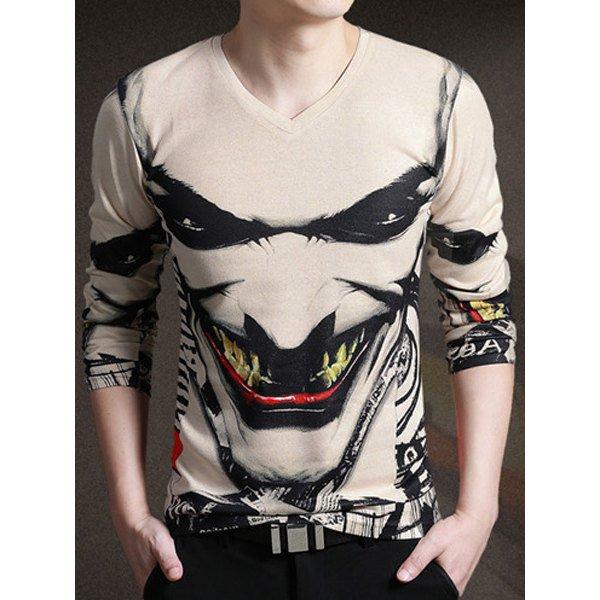 5 Stylish V-Neck 3D The Joker Face Print Long Sleeve T-Shirt For Men