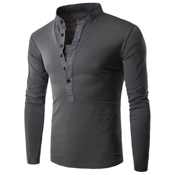 0 Half Single-Breasted Stand Collar Long Sleeve T-Shirt