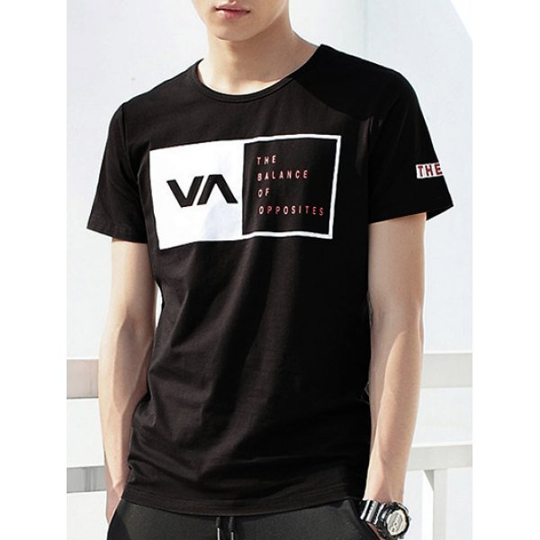 Fashion Letter Print Round Neck Short Sleeve T-Shirt For Men