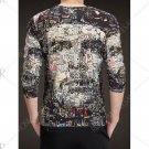 V-Neck Long Sleeve 3D Face Print T-Shirt