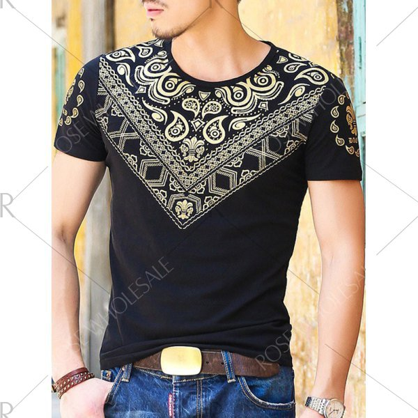 Gloden Geometric Paisley Printing Slimming Round Neck Short Sleeves T-Shirt For Men