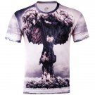 Stylish Slimming Round Neck 3D Mushroom Cloud Pattern Short Sleeve Cotton Blend T-Shirt For Men