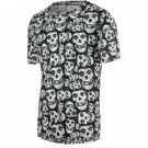 0 Fashion Tiny Skulls Print Round Neck Short Sleeve Tee For Men