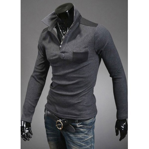 Embellished Long Sleeves Men's Cotton Blend Polo T-Shirt
