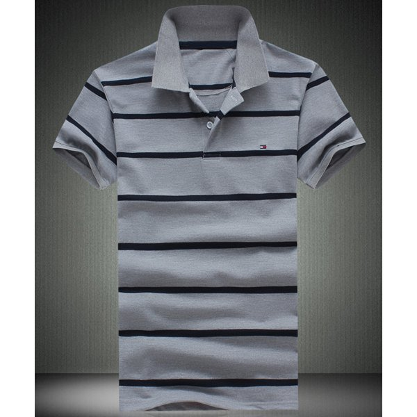 0 Slimming Short Sleeves Striped Polo T-Shirt For Men