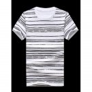 Plus Size Round Neck Striped Printed Short Sleeve T-Shirt For Men
