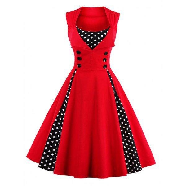 Button Embellished Polka Dot Dress