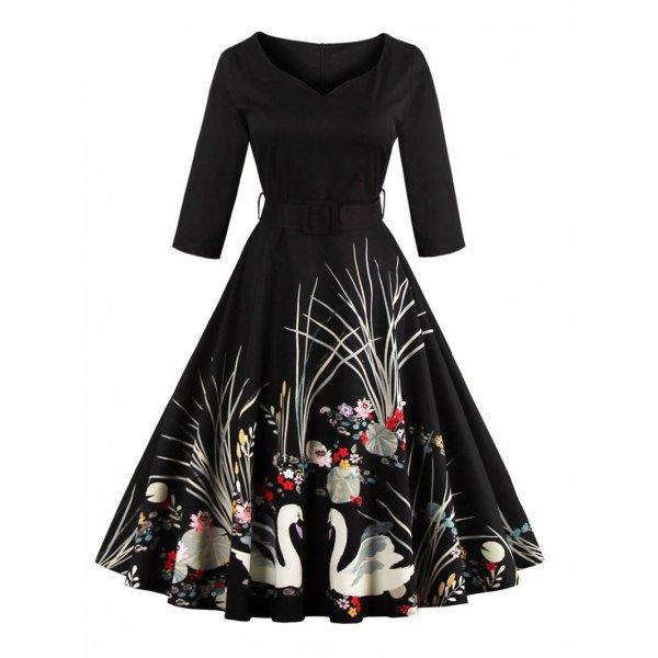Printed Belted High Waist Dress