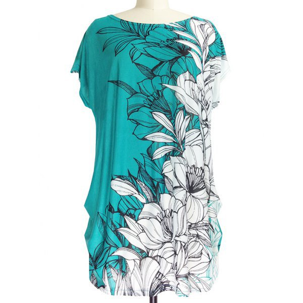 Short Sleeve Floral Print Loose-Fitting T-Shirt