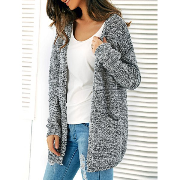 Knitted Open Front Cardigan With Pockets