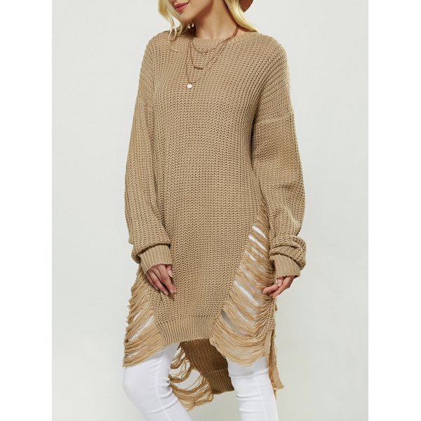 Openwork Asymmetrical Sweater