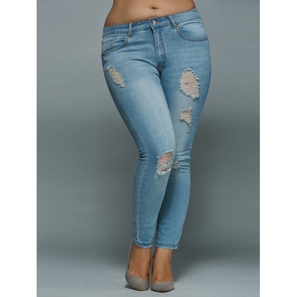 Plus Size High Waisted Skinny Ripped Jeans