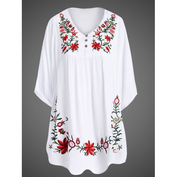 1/2 Sleeve Embroidered Plus Size Women Dress