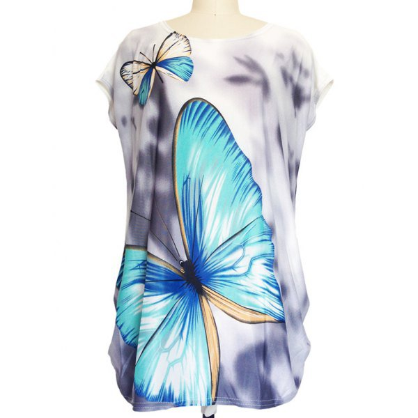Butterfly Print Loose-Fitting T-Shirt