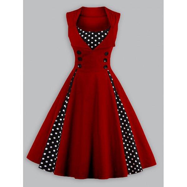 Vintage Polka Dot Panel Swing Dress