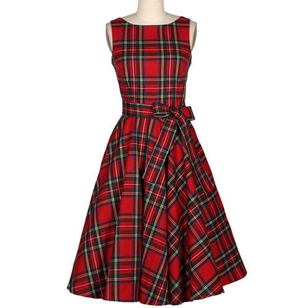 Vintage Jewel Neck Sleeveless Plaid Belted Women A-line Dress