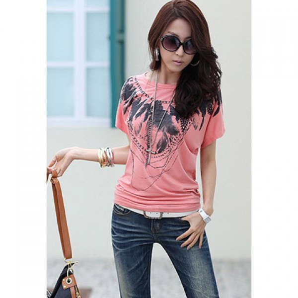 Short Sleeves Feather Print Women's t-shirt