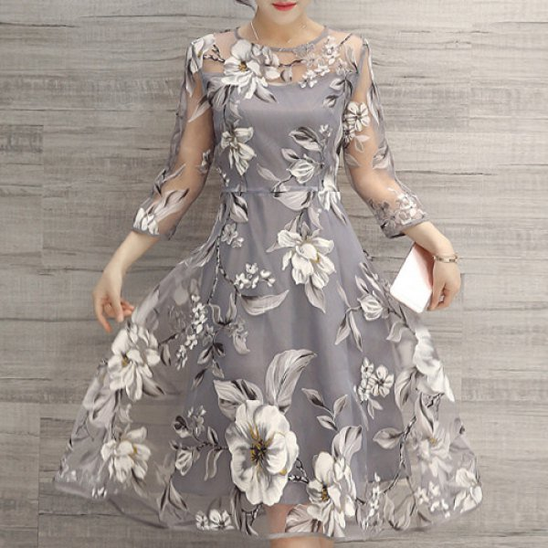 3/4 Sleeve Floral Print See-Through Dress For Women