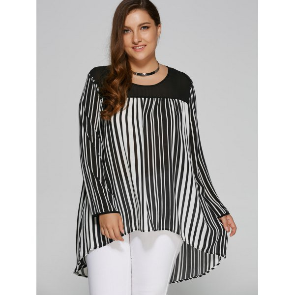 Size High Low Hem Striped Blouse