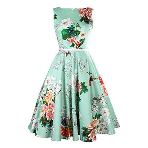 Vintage Jewel Neck Sleeveless Floral Print Dress