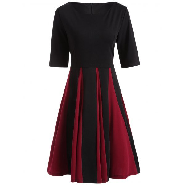 Retro Color Block Fit and Flare Dress