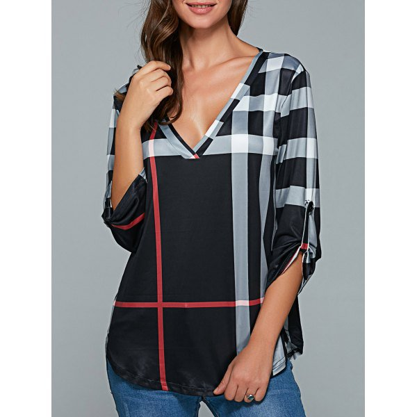 Neck 3/4 Sleeve Plaid Blouse