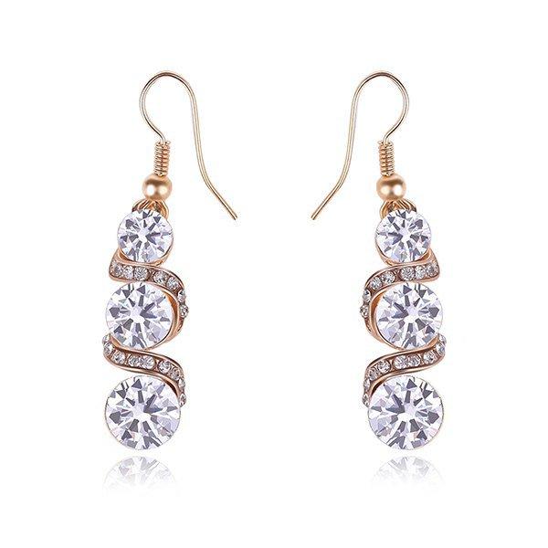 Pair of Elegant Spiral Tiered Rhinestone Dangle Earrings