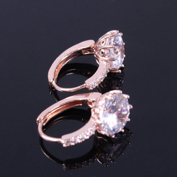 Pair of Gorgeous Round Zircon Rhinestone Embellished Earrings For Women