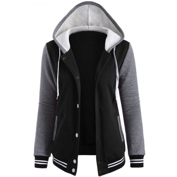 Contrast Sleeve Fleece Baseball Hoodie Jacket