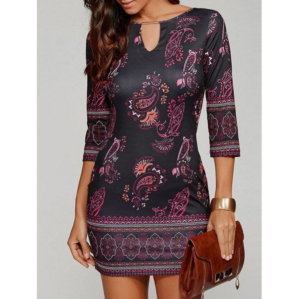 Paisley Keyhole Neck Dress