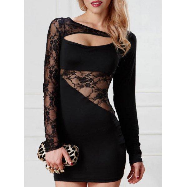Trendy Long Sleeves Hollow Out Lace Splice Women's Dress