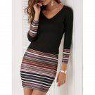 Fashion V-Neck Stripe Long Sleeve Dress For Women