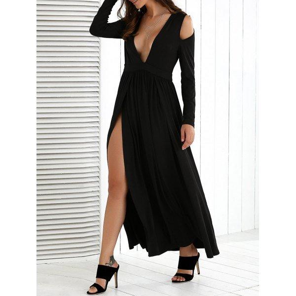 Cold Shoulder High Slit Maxi Dress