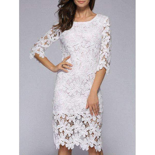 Elegant Half Sleeve See-Through Floral Lacework Slimming Dress