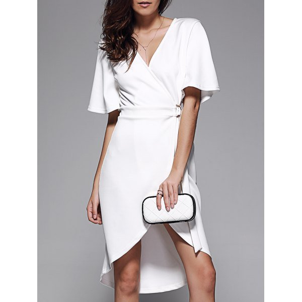 Crossover Tie Belt Asymmetrical Dress