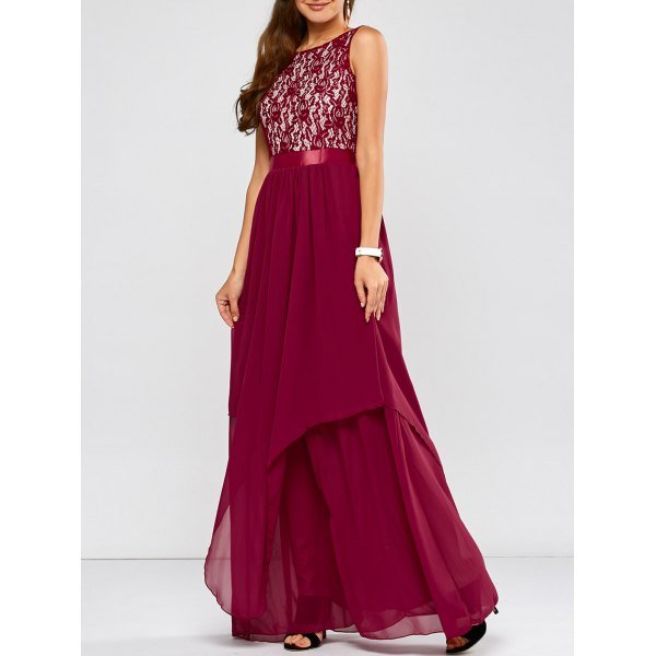 Lace Spliced Chiffon Layered Maxi Prom Dress